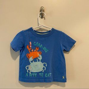 Joules Crab Appliqué Tee in size 2